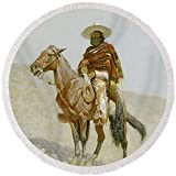 Pixels Round Beach Towel With Tassels featuring ''A Mexican Vaquero'' by Pixels