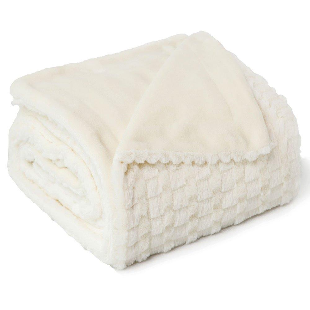 Bedsure Faux Fur Fleece Throw Blanket 50x60 Ivory Rustic Home Decor Bedding Blanket