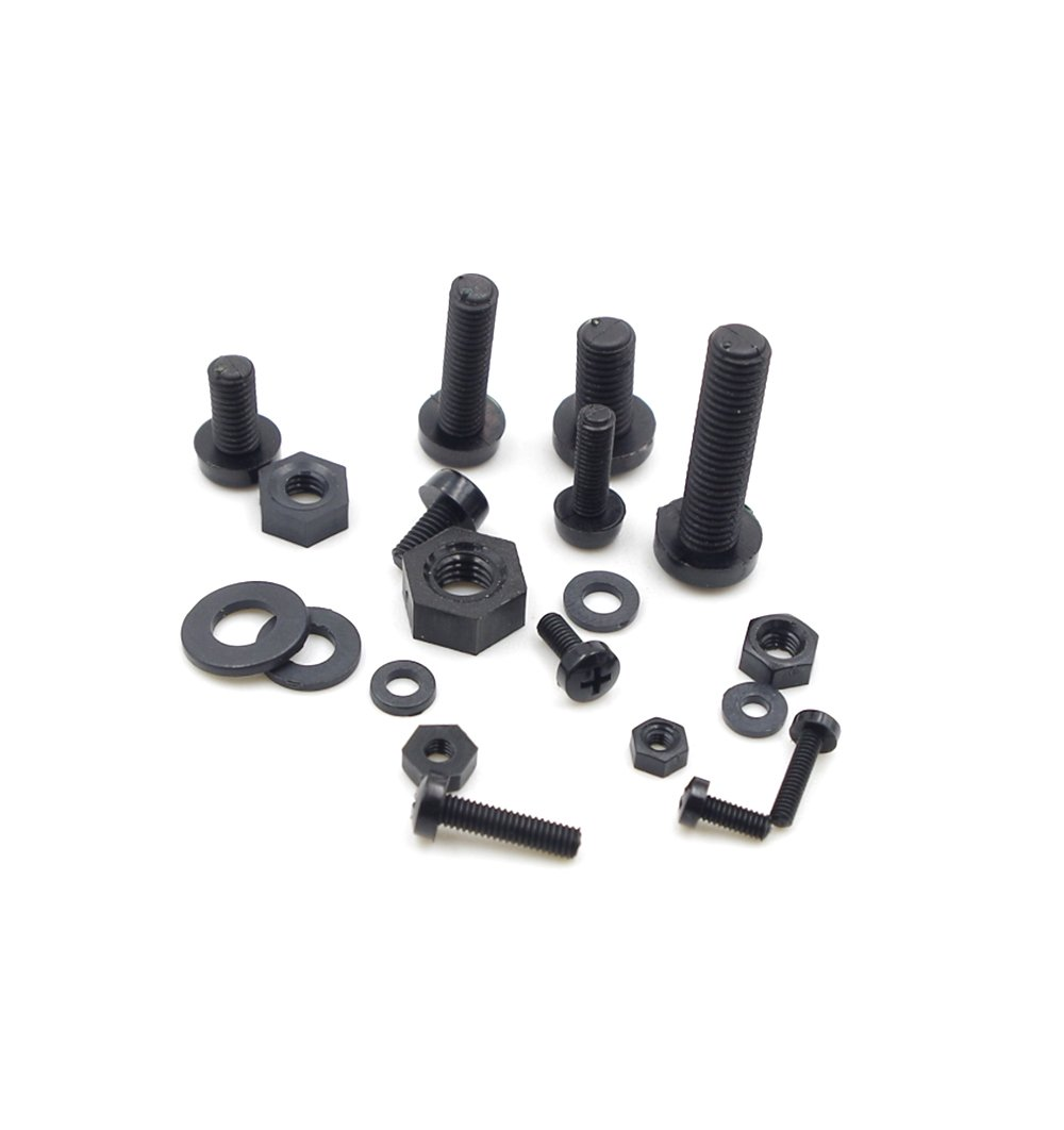 Black HVAZI Metric M2 M2.5 M3 M4 M5 Nylon Phillips Pan Head Screws Nut Washer Assortment Kit