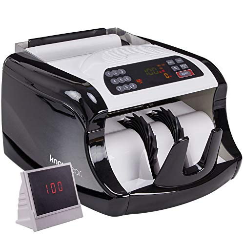 - Knox Cash Bill Counter with Counterfeit Detection - Money Counting Machine with UV, Magnetic and Infrared Detection - LED Display, Batch Modes, 1,000 Notes Per Minute