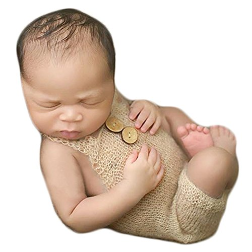 Zeroest Baby Photography Props Boy Girl Photo Shoot Outfits Newborn Crochet Costume Infant Knitted Clothes Mohair Rompers (Beige Mohair)