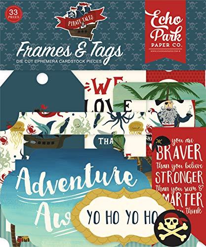 - Echo Park Paper Company PTA176025 Pirate Tales Frames & Tags Ephemera red, Navy, Black, Brown, Yellow