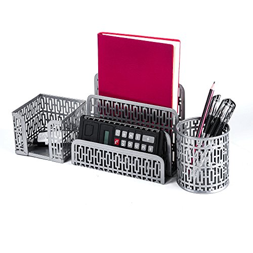 Crystallove Metal Mesh Office Desktop Supplies Organizer Set of 3pcs-Pencil Cup, Stick Note Holder and Letter Shelf (Silver-Style 1) (Accessories Sorter Shelf)