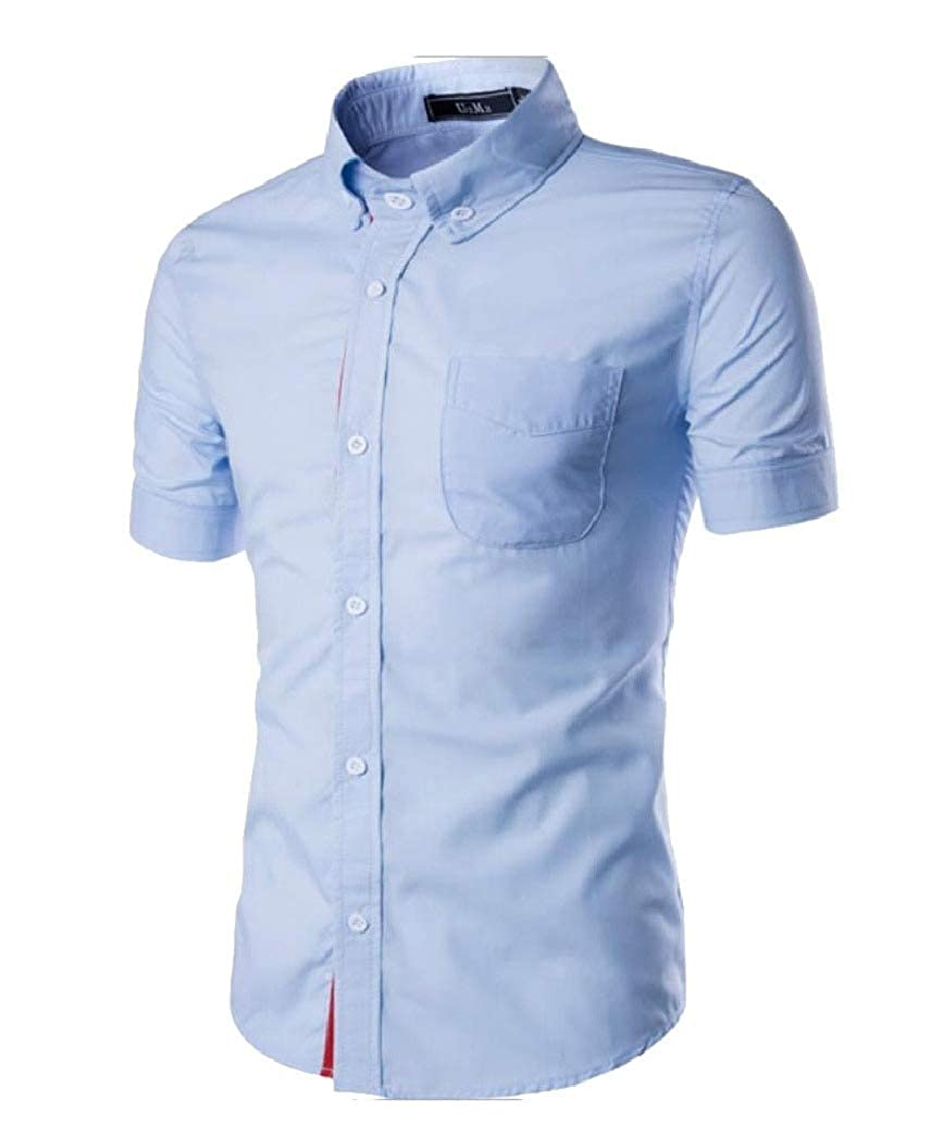 Fseason-Men Basic Style Western Shirt Pockets Formal Plus-Size Dress Shirt