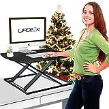 Standing Desk- Height Adjustable Stand Up Desk Converter - ULTRA SLIM - Sit Stand Desk for Computer / Desktop or Laptop, 31''x22'', BLACK