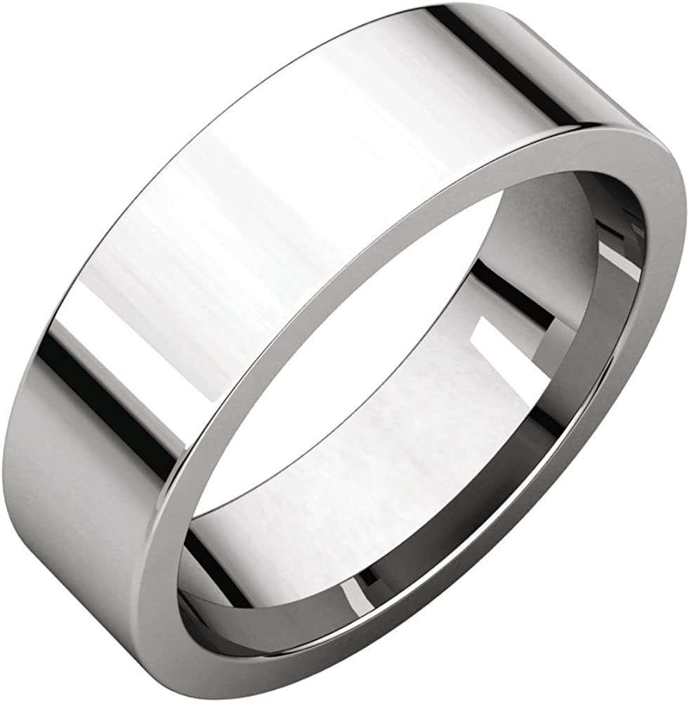 FB Jewels 925 Sterling Silver 6mm Flat Comfort Fit Mens Wedding Ring Band