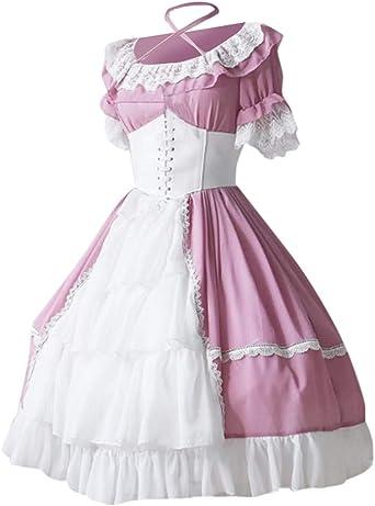 Setsail damska sukienka gotycka, średniowieczna spÓdnica do ciasta z koronką, sukienka do ciasta w stylu steampunk, długa sukienka z koronki - z dekoltem xxl: Odzież