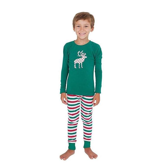 Deylaying Familia Pareo Festivo Navidad Conjuntos de pijamas Algodón Impresión Ropa de dormir Nightwear Para Familia