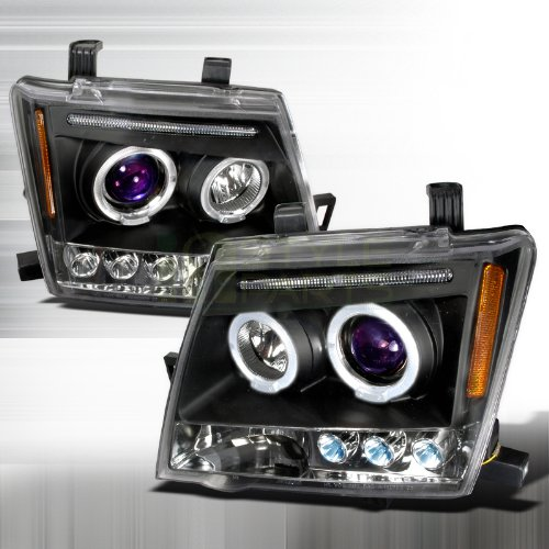 Nissan Xterra Replacement Headlight - 2005-2007 Nissan Xterra Halo Led Projector Headlights Black