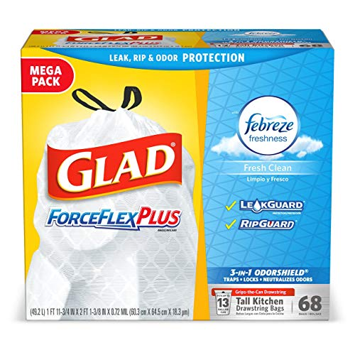 Glad Tall Kitchen Drawstring Trash Bags – ForceFlexPlus 13 Gallon White Trash Bag, Febreze Fresh Clean – 68Count
