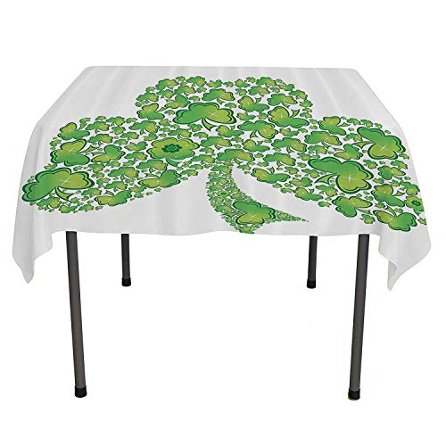 Celtic Decor Collection bedside table tablecloth Irish Shamrock Figure Made with Small Clover Patterns Holy Trinity Symbol Graphic Work Green White warm table cloth Spring/Summer/Party/Picnic 70 By 70