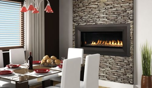 "43"" Millivolt Linear Vent-Free LP Fireplace- Lights & Glass Pebbles"