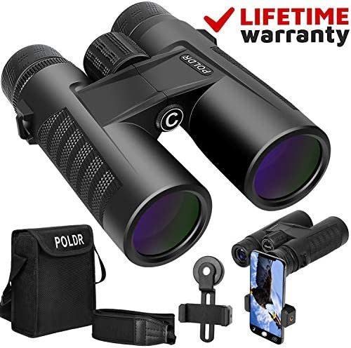 POLDR 10×42 Powerful Full-Size Binoculars for Adults, Waterproof Compact HD Binoculars for Hunting Concerts Bird Watching Travel Hiking BAK4 Prism FMC Lens-with Smartphone Adapter Strap Carrying Bag