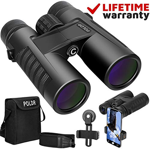 POLDR 10x42 Powerful Full-Size Binoculars for Adults, Waterproof Compact HD Binoculars for Hunting Concerts Bird Watching Travel Hiking BAK4 Prism FMC Lens-with Smartphone Adapter Strap Carrying Bag (Best Full Size Binoculars)