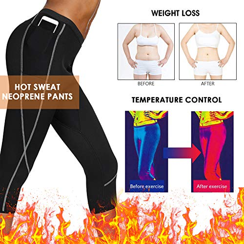 JOYMODE Women Neoprene Sauna Pants Weight Loss Hot Sweat Leggings with Zipper Pockets Slimming Workout Capris (Black-Grey Capri, Small)