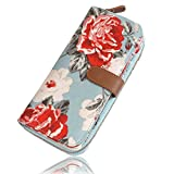 Ichic Boutique Womens Wallet Purse Clutch Card Holder Organizer Zipper Floral