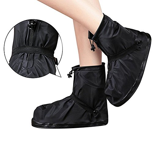 Couvre-chaussures imperméables, Meiwo anti-dérapant chaussures de pluie réutilisables imperméable chaussures à glissière étanches pour homme femme