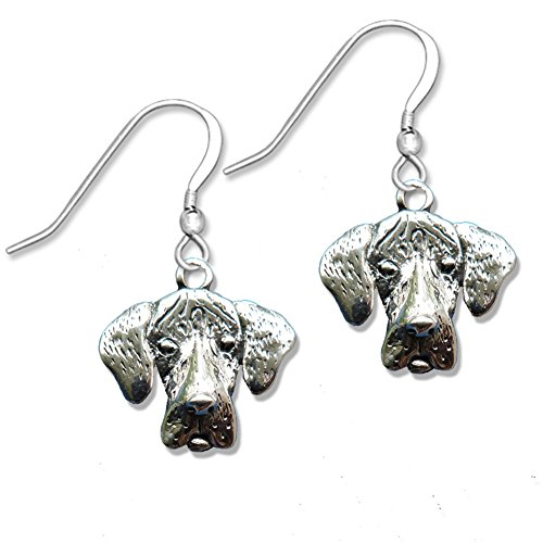 Sterling Silver Great Dane Earrings with Natural Ears
