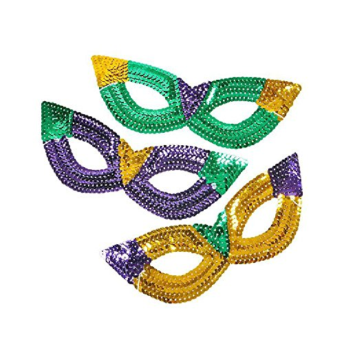 Sequin Cat-Eye Mardi Gras Mask by Bargain World