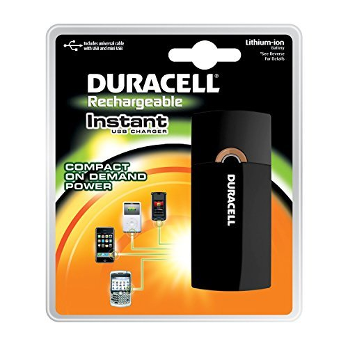 Duracell Instant USB Charger/Includes Universal Cable with USB & mini USB, 4 Count