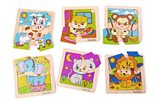 Wooden Puzzle Lion - Bimi Boo Wooden Animal Puzzle Set of 6 Puzzles for Toddlers - Cute Dog, Cat, Cow, Monkey, Elephant & Lion