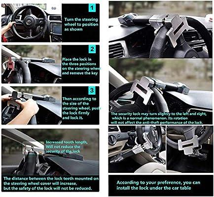 Xljh Coche Volante Bloqueo Anti Robo Auto Defensa Manillar Seguridad Embrague cerradurasProtección antirrobo del Volante con Advertencia de Verano