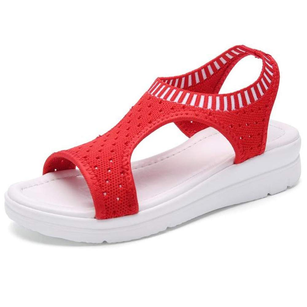 Sara Love Womens Ladies Platform Sandals Wedges Open Toe Fish Mouth Summer Beach Casual Flip Flops Elastic T-Strap Flat Red