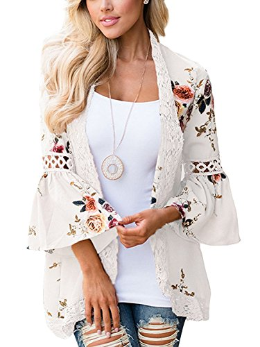 Womens Trumpet - Basic Faith Women's S-3XL Boho Floral Print Kimono Tops Trumpet Sleeve Cover up Cardigans Ivory 3XL