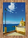 Italian Area Rug by Ambesonne, Camogli Building Sea Lamp and Balcony Tourist Spot in Ligury Italy Print, Flat Woven Accent Rug for Living Room Bedroom Dining Room, 4 x 6 FT, Blue White and Yellow