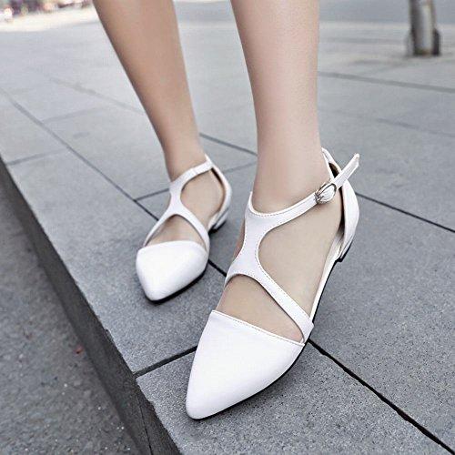 Carol Skor Chic Kvinnor Mode Pekade Tå Spänne Slapp T-rem Chunky Låg Klack Sandaler Vit