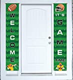 Football Banner Welcome Porch Sign Decorations - Game Day Sports Door House Party Decor Supplies