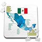 777images Flags and Maps - North America - Flag and Map of Mexico with all the Mexican states identified by name - 10x10 Inch Puzzle (pzl_110021_2)