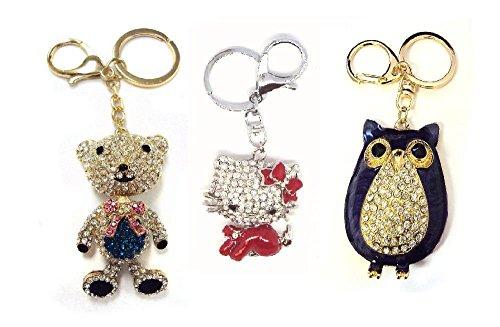 ASST 3 Pack - kitty owl teddy bear crystal keychain key ring purse charm