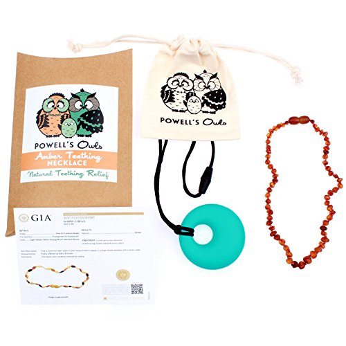Baltic Amber Teething Necklace Gift Set + FREE Silicone Teething Pendant ($15 Value) Handcrafted, 100% USA Lab-Tested Authentic Amber - Natural Teething Pain Relief (12.5'' Raw Unpolished Cognac) by Powell's Owls