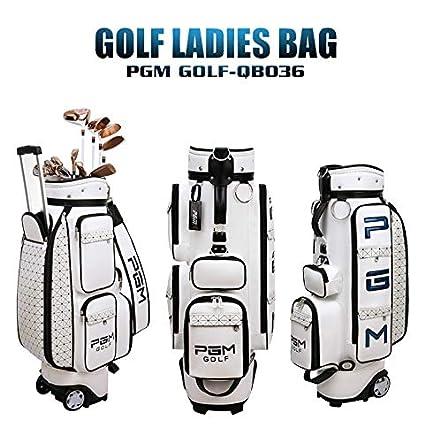 0b98a43146bf PGM Women Wheeled Golf Stand Carry Bag -PU Golf Clubs Bag
