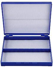 BOKIE Royal Blue Plastic Rectangle Hold 100 Microslide Slide Microscope Box