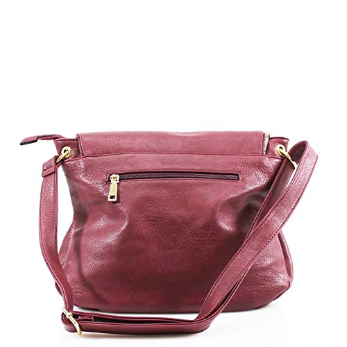 Leather Women's Bags Faux Zipper Designer Handbags CWRB15112 H28cm CWS00428 Cross Quality x x CWS00433 Fashion Messenger Celebrity Shoulder D15cm BURGUNDY Body W36cm Ladies zwqFgx4