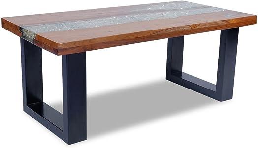 Unfade Memory Unique Mango Wood Coffee Table Teak Resin 39.4″x19.7″ 39.4″x19.7″