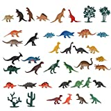 41 Pieces Plastic Educational Dinosaur Toys Realistic Looking Mini and Large Dinosaurs Animal Gift Birthday Party Supplies