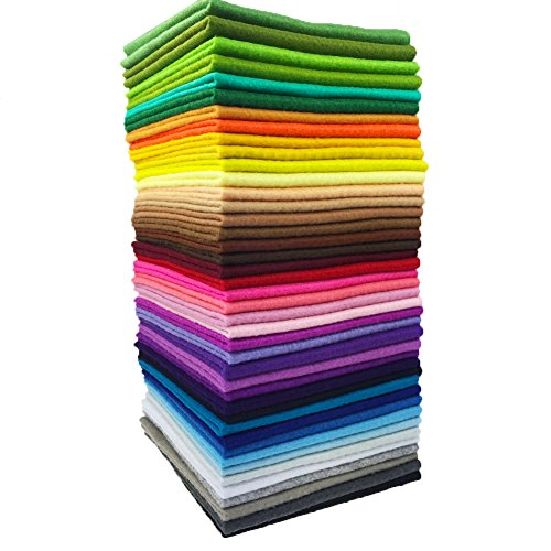 flic-flac 42pcs1.4mm Thick Soft Felt Fabric Sheet Assorted Color Felt Pack DIY Craft Sewing Squares Nonwoven Patchwork (15cm ()