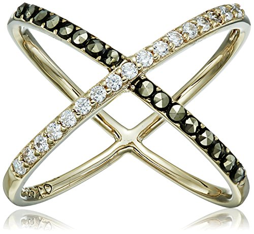 """Judith Jack """"Classics"""" Gold-Tone Sterling Silver Ring With Crystals And Marcasite"""