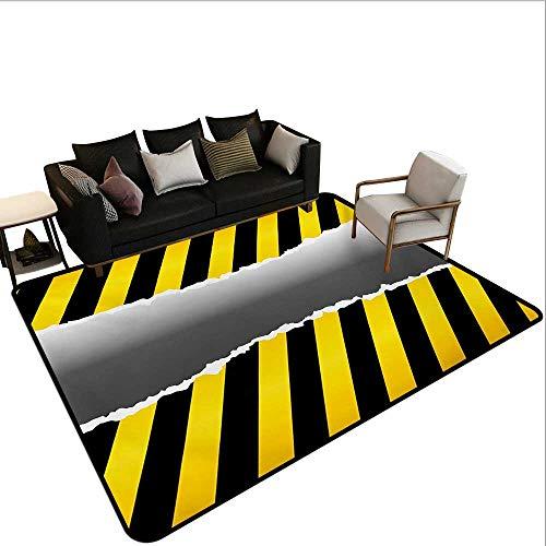 (Non-Slip Floor mat,Ripped Sign Working Site Danger Hazard Progress Caution Urban Pattern 6'6