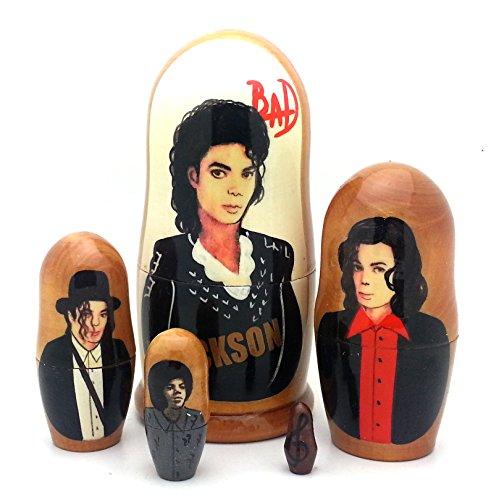 Michael Jackson BAD Russian Nesting dolls 5 piece DOLL Se...