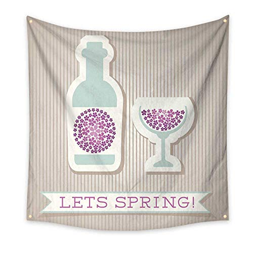 BlountDecor Pattern Tapestry Motivation List Design with Drink 47W x 47L Inch