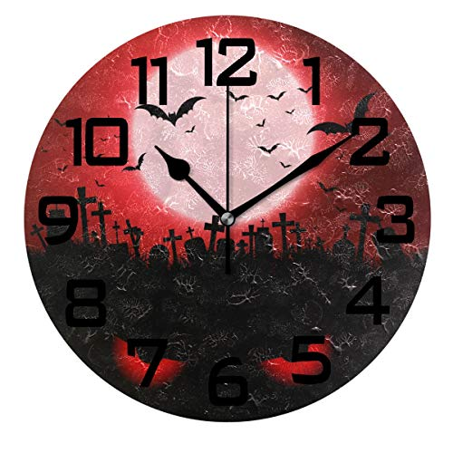 DOPKEEP Halloween Evil Eyes Graveyard Wall Clock Oil Painting Quotes Round Acrylic Decorative Indoor Kitchen Clock,Battery Operated Clocks ()