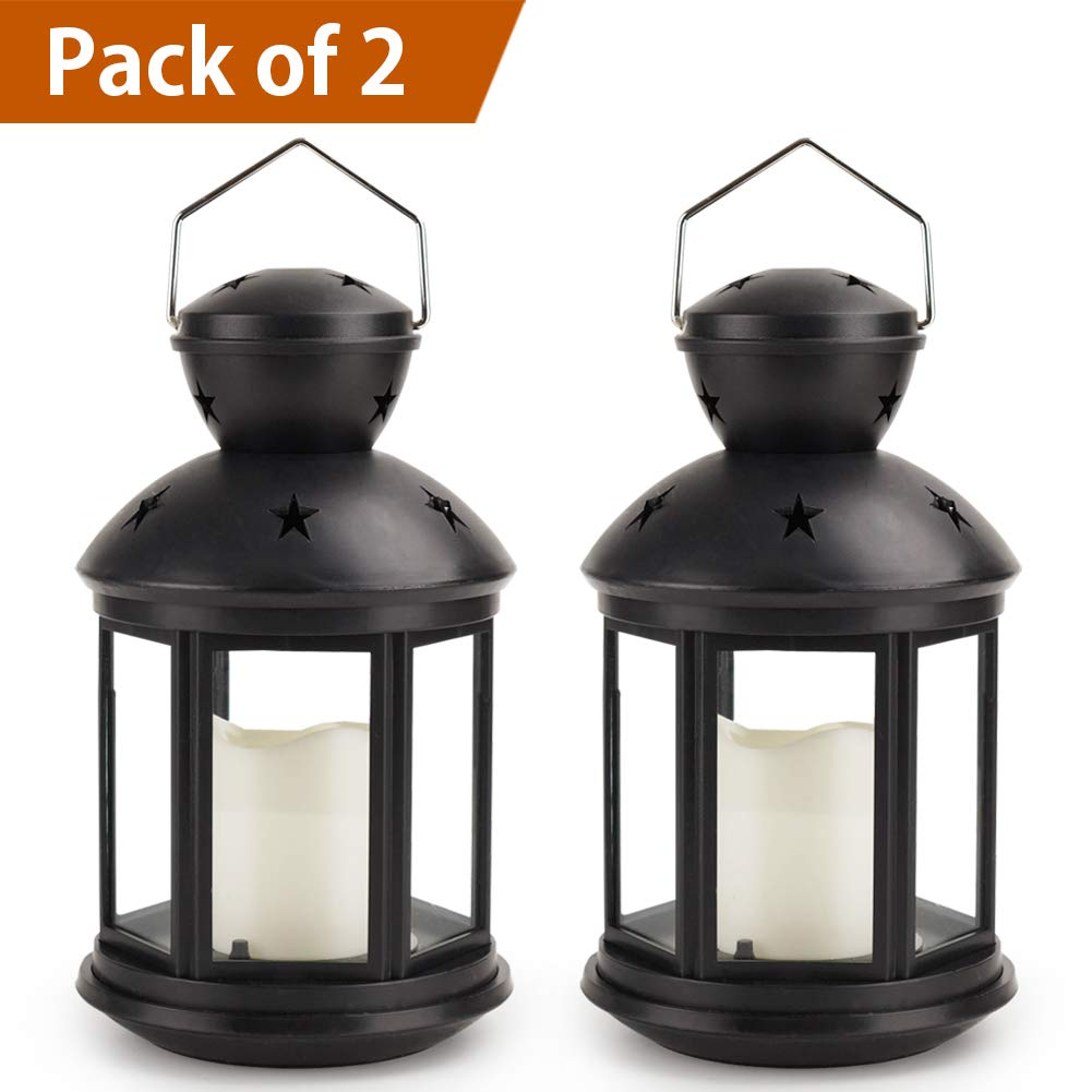 Bright Zeal /Pack of 2/ Hexagon Candle Lantern with LED Flameless Candles Flickering (Black, 9'' Tall, 8hr Timer) - Outdoor Hanging Lantern Black Decorative Lanterns for Indoors Battery Powered Lights