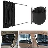 Car Curtains Car Curtain,MATCC 2pcs 70cm Mesh L Auto Rear Valance UV Sunshade Drape Visor Car Window Curtain black