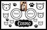 Cat photo custom laminated floor mat for cat food and water.
