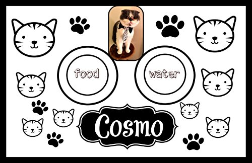 Cat photo custom laminated floor mat for cat food and water. by ART and Decorations