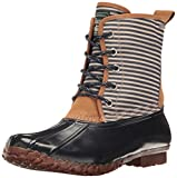 G.H. Bass & Co. Women's Daisy Rain Boot, Navy Stripe/Navy, 7 M US